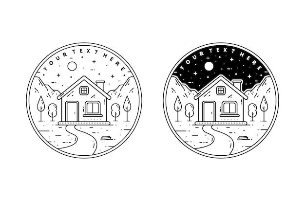 Design semplice del distintivo monoline del paesaggio dell'albero e della casa