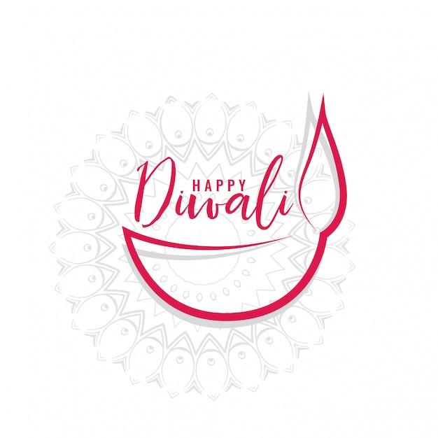 Design semplice di diwali diya line art