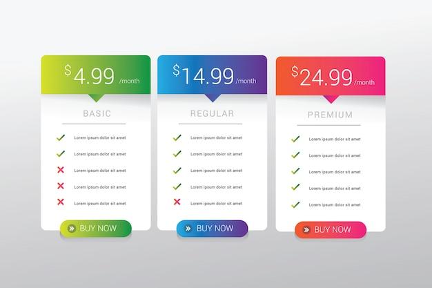 Design semplice e moderno della tabella dei prezzi con colori sfumati vivaci, ideali per l'interfaccia utente del modello di sito web
