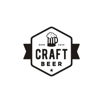 Design semplice logo birra artigianale retrò