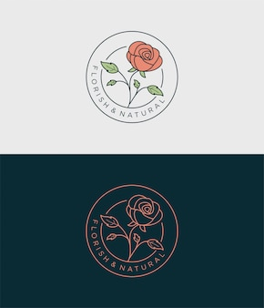 Design semplice logo distintivo fiore rosa.