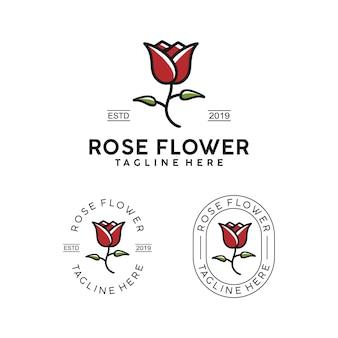 Design semplice logo distintivo fiore rosa