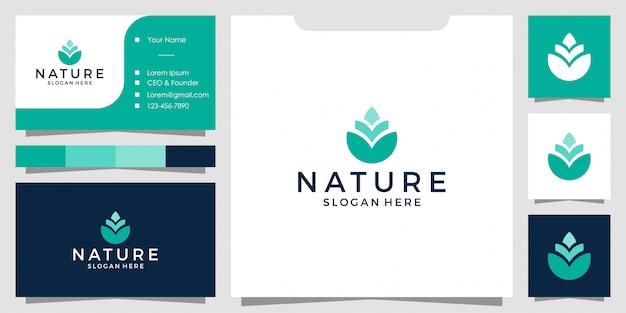 Design semplice logo fiore naturale e biglietto da visita
