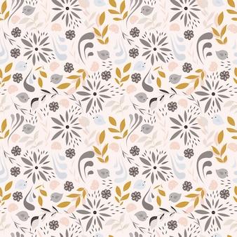 Design senza cuciture con piccoli fiori, elementi floreali, uccelli