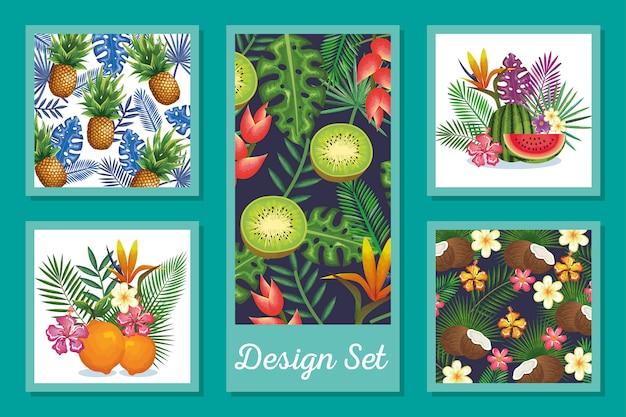 Design set di frutta con fiori e foglie tropicali