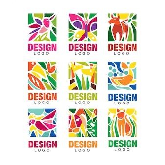 Design set lodo, etichette con piante, uccelli e animali, segni ambientali tropicali, elementi emblema del design illustrazioni