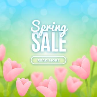 Design sfocato per la vendita di primavera con fiori