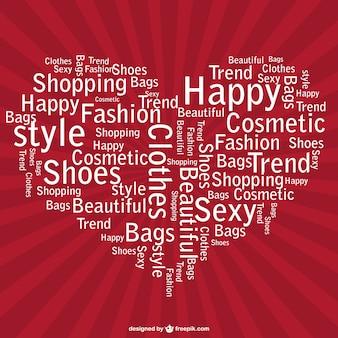 Design shopping cuore vettoriale