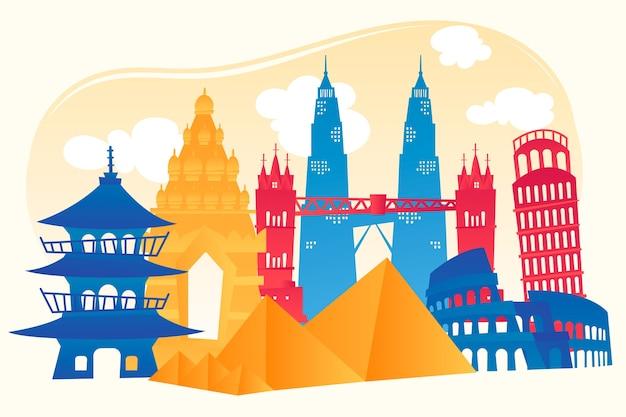 Design skyline colorato punti di riferimento