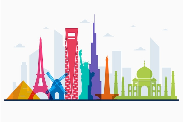 Design skyline di punti di riferimento multicolori
