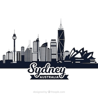 Design skyline scuro di sydney