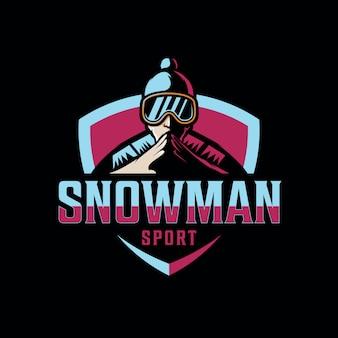 Design snow man logo per lo sport di gioco