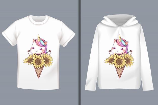 Design t-shirt cartone animato unicorno