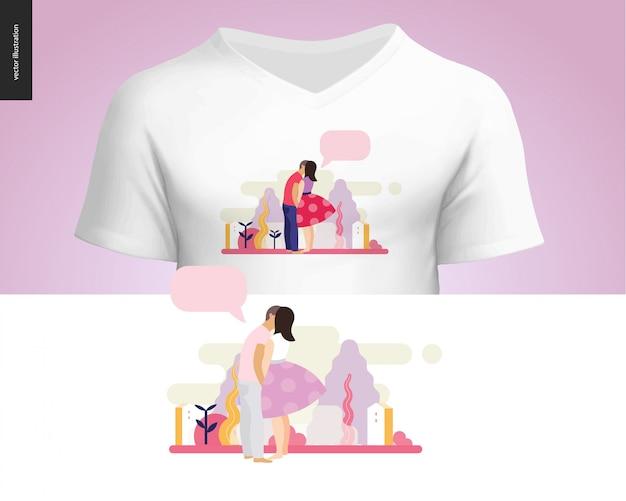 Design t-shirt composizione scena baciare