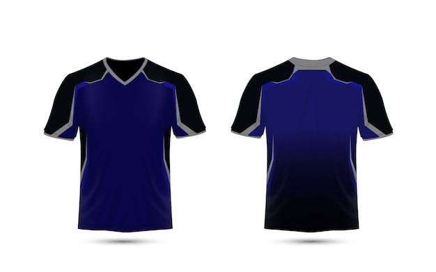 Design t-shirt e-sport con layout blu e nero