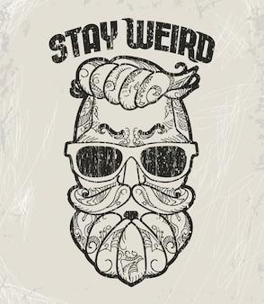 Design t-shirt hipster, stampa grunge stile retrò.