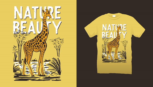 Design t-shirt illustrazione giraffa
