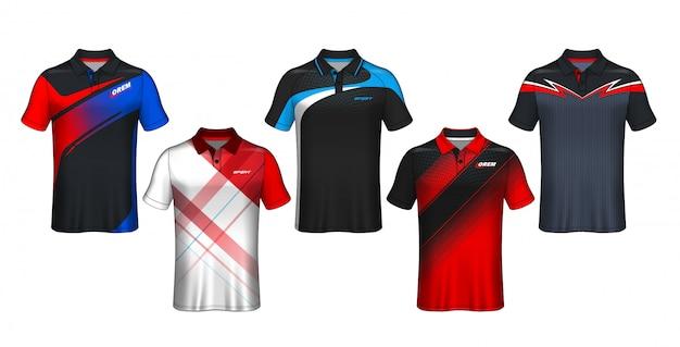 Design t-shirt polo, modello jersey sportivo.