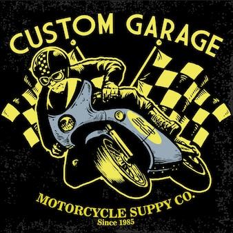 Design t-shirt retrò da gara motociclistica