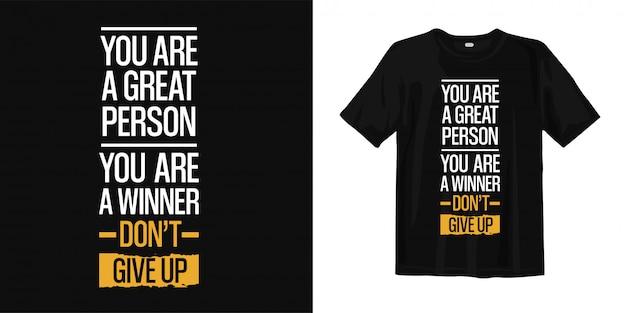 Design t-shirt tipografia citazioni ispiratrici
