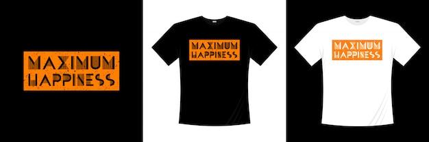 Design t-shirt tipografia massima felicità