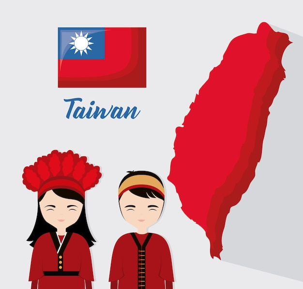 Design taiwan con uomo e donna di cartone animato taiwanese