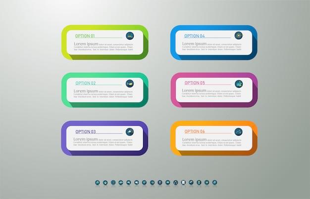 Design template 6 opzioni o passaggi infografica elemento grafico.