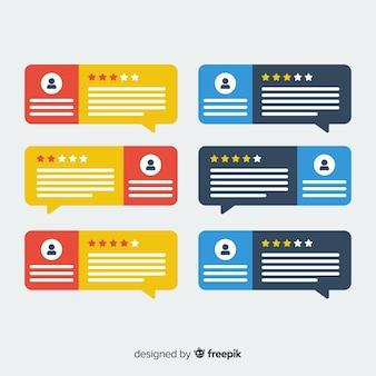 Design testimonial creativo con il concetto di bolle di discorso