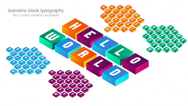 Design tipografico colorato blocco isometrico
