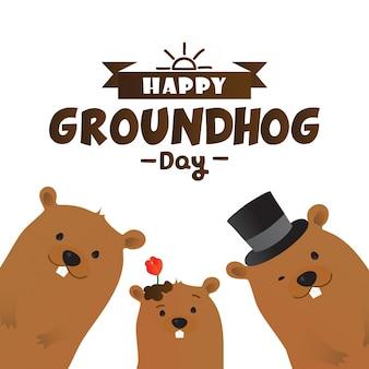 Design tipografico di happy groundhog day con simpatici personaggi di marmotta