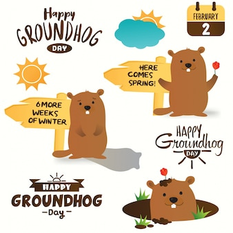 Design tipografico di happy groundhog day. serie di illustrazioni di marmotta del fumetto