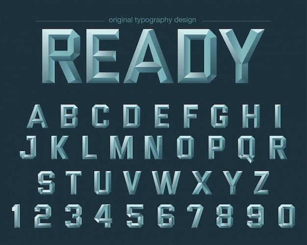 Design tipografico in acciaio con spigoli vivi