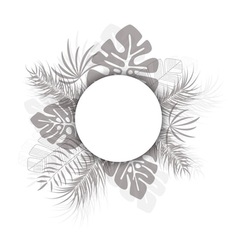 Design tropicale con foglie di palma e piante nere su sfondo bianco con posto per il testo