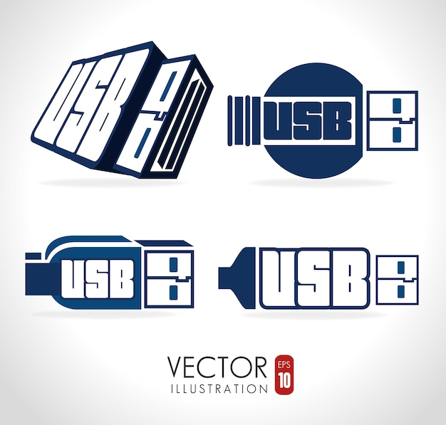 Design usb, illustrazione vettoriale.