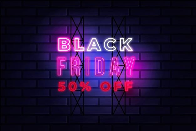 Design venerdì nero al neon