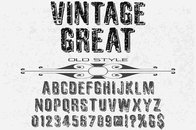 Design vintage carattere tipografico alfabeto ottimo