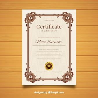 Design vintage modello di certificato ornamentale