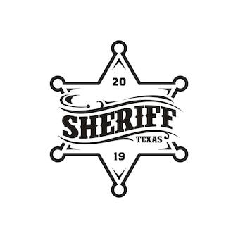 Design vintage retrò sceriffo distintivo emblema logo tipografia