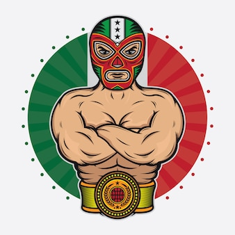 Design vintage wrestler messicano