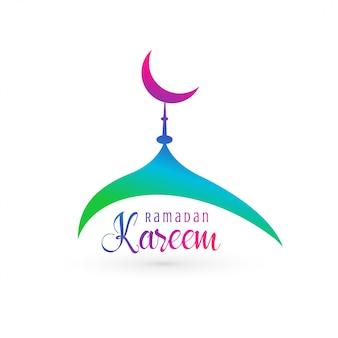 Design vivace moschea per ramadan kareem