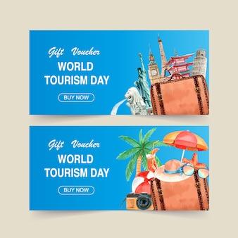 Design voucher turistico con punto di riferimento di ogni paese, cocco, macchina fotografica.