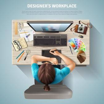 Designer vista dall'alto illustrazione