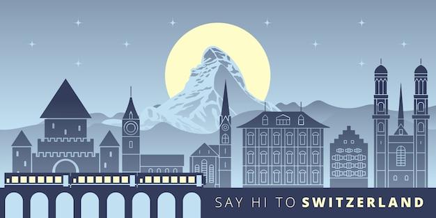 Designhouse grafico di vettore del punto di riferimento di paesaggio urbano della svizzera