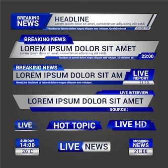 Desing di banner di notizie in diretta streaming