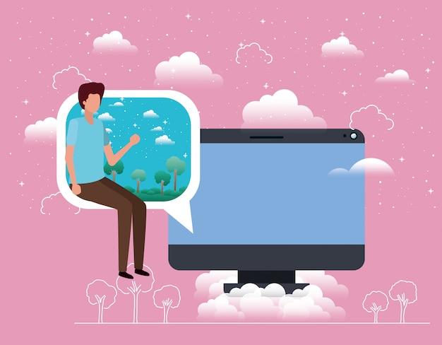 Desktop con ragazzo seduto nella nuvoletta