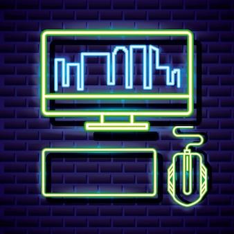 Desktop con skyline, tastiera e mouse, videogioco neon stile lineare