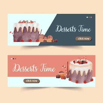 Dessert banner set dell'acquerello