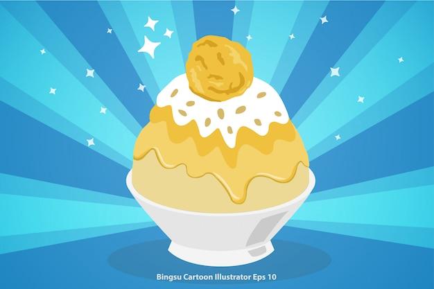 Dessert coreano o bingsu durian con gelato cartoon