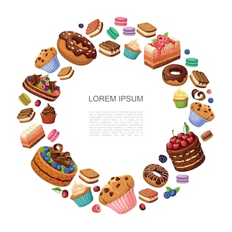 Dessert del fumetto composizione rotonda con ciambelle pezzi di torta amaretti cupcakes muffin torte con lamponi more mirtilli isolati