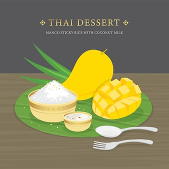 Dessert tailandese, mango e riso appiccicoso con salsa al latte di cocco e mango. illustrazione di cartone animato